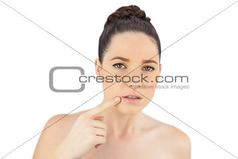 Natural model showing wrinkle around her mouth