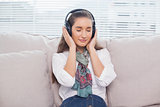 Peaceful cute model listening to music