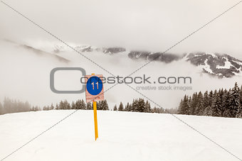 Ski Slope Sign near Megeve in French Alps, France