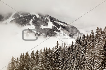 Ski Slope near Megeve in French Alps, France