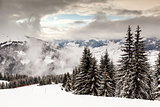 Downhill Ski Slope near Megeve in French Alps, France