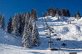 Sunny Ski Slope and Ski Lift near Megeve in French Alps, France