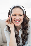 Smiling casual woman having a phone call
