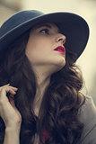 Gorgeous glamorous brunette posing