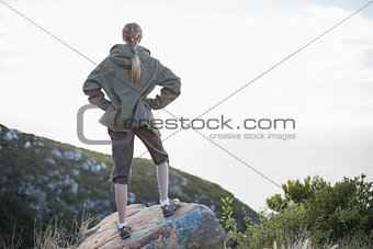 Rear view of woman standing on stone