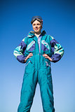 Woman wearing ski suit