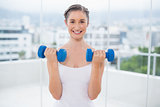 Smiling sporty brunette exercising with dumbbells