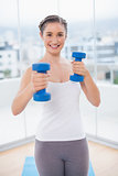 Cheerful athletic brunette exercising with dumbbells