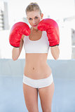 Serious young blonde model exercising with boxing gloves