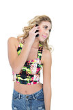 Pretty retro blonde model making a phone call
