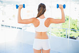 Rear view of woman lifting up dumbbells