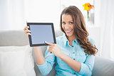 Attractive brunette showing her tablet screen