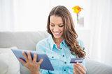Brunette shopping online