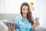 Euphoric brunette shopping online
