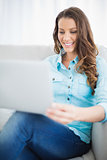 Attractive woman using laptop sitting on couch