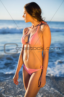 Attractive woman posing in pink bikini