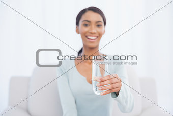 Smiling attractive woman sitting on cosy sofa holding glass of water