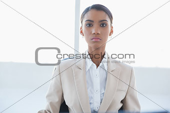 Serious elegant businesswoman posing
