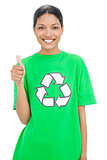 Happy model wearing recycling tshirt giving thumb up