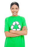 Happy model wearing recycling tshirt posing