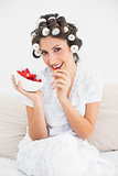 Pretty brunette in hair rollers having a bowl of strawberries