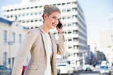 Cheerful gorgeous businesswoman having a phone call