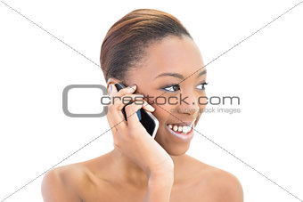 Beautiful smiling beauty phoning