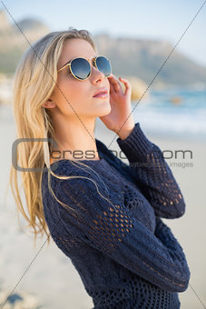 Thoughtful attractive blonde posing