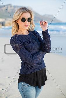 Relaxed sensual blonde posing