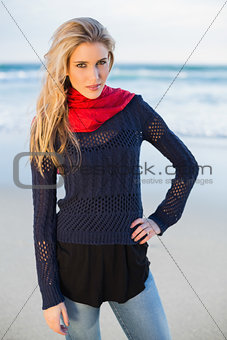 Gorgeous blonde with red scarf posing