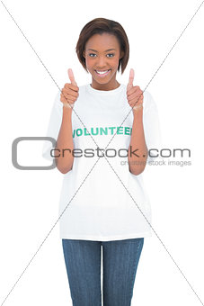 Happy volunteer giving thumbs up