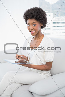 Smiling attractive brunette using her tablet pc