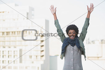 Cheerful afro model having fun