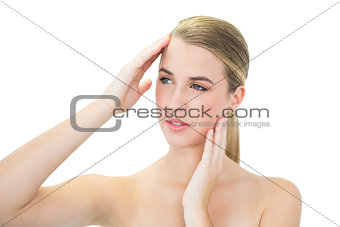 Attractive blonde suffering from headache