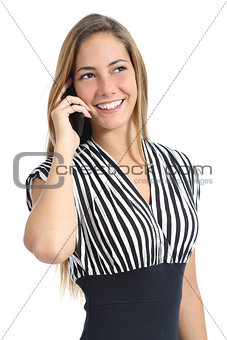 Beautiful elegant woman wearing a dress talking on the mobile phone