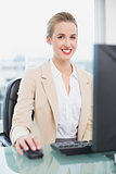 Smiling attractive businesswoman working on her computer