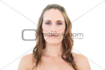 Portrait of woman looking seriously at camera