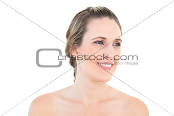 Smiling woman looking away