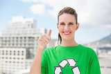 Happy environmental activist giving thumbs up