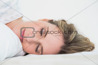 Close up on sleeping pretty blonde woman