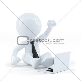 Business guy sitting and using a laptop