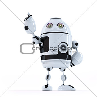 Android robot pointing at invisible object