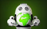 Robot holds earth globe.
