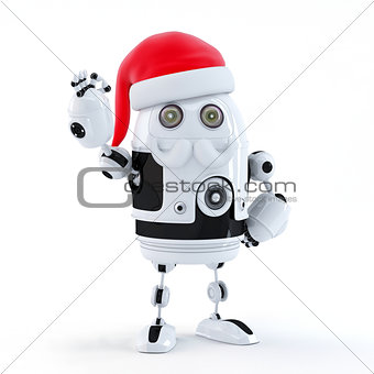 Robot Santa showing OK sign. Technology concept