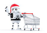 Robot Santa with shopping cart pointing at object