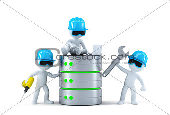 Group of technicians with data base. Technology concept