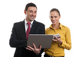 businessman andd businesswoman with laptop