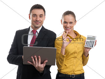 business couple with laptop and calculator