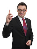 business man pointing up finger