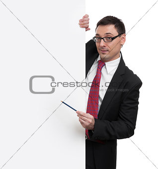 smiling businessman showing with pointer to blank placard